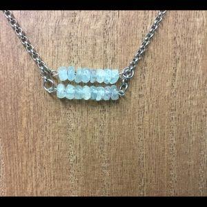Aquamarine double bar necklace